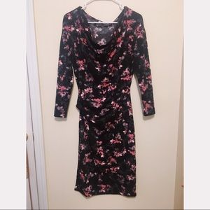 Tahari pink and black floral formal dress 🖤🥀